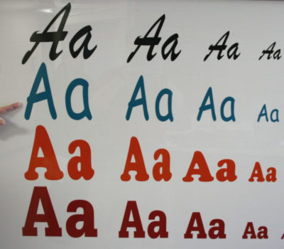 aaa lettering and font examples in different colors and font styles