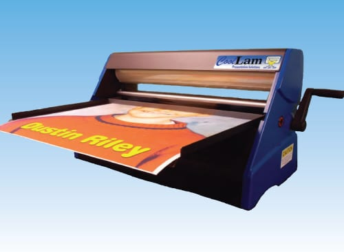 coollam laminator in mid process of creating a school laminator project