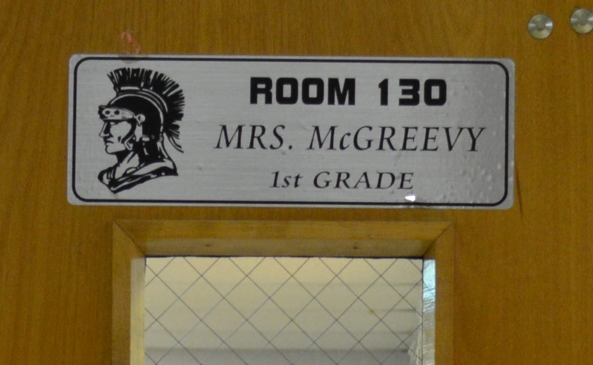 School room sign on the door identifying the teacher from the recognizer Althorp school signage printing machine