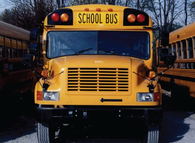 School bus without permit number on front