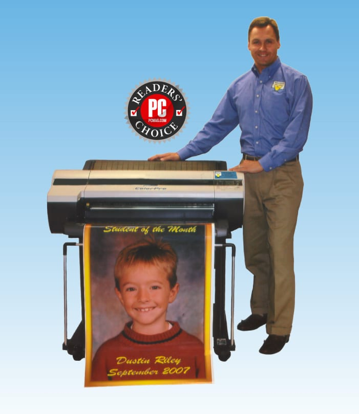 A picture of The ColorPro Poster maker and a link to the colorpro poster and banner maker