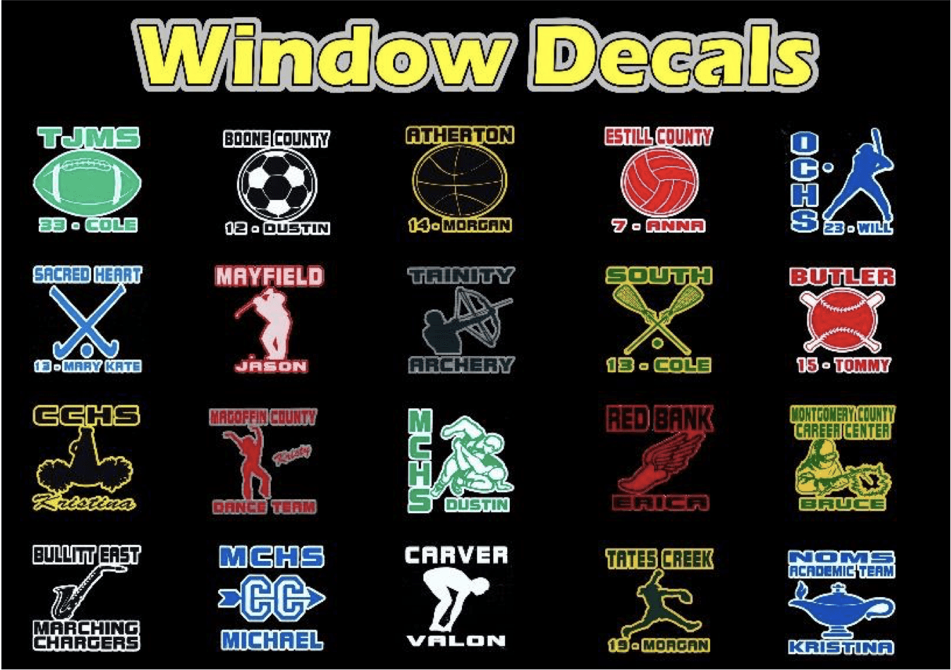 A picture of the samples of window decals from the recognizer ultra student recognition machine for schools