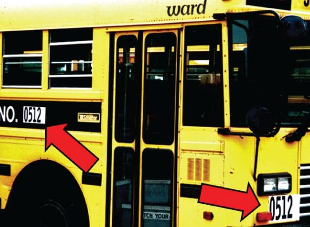 school bus numbered