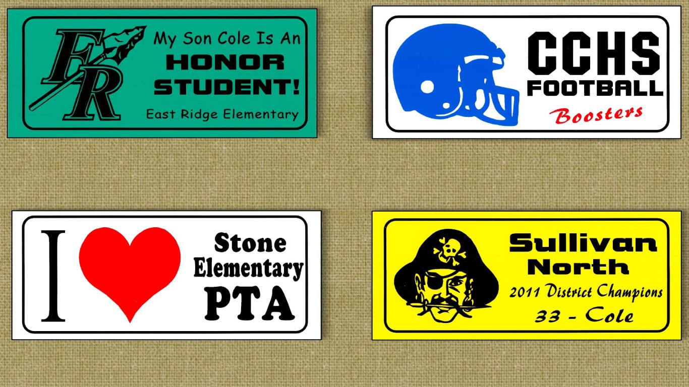 Selling bumper stickers as a school fundraiser