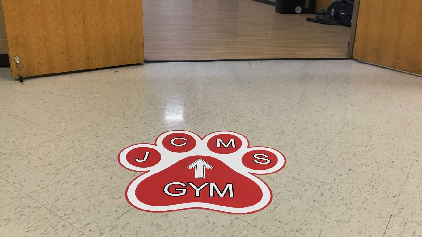 School floor stickers printed by the color pro
