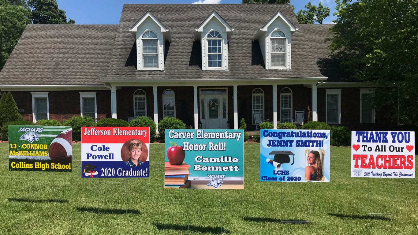 School yard signs printed by the color pro poster maker from presentation solutions